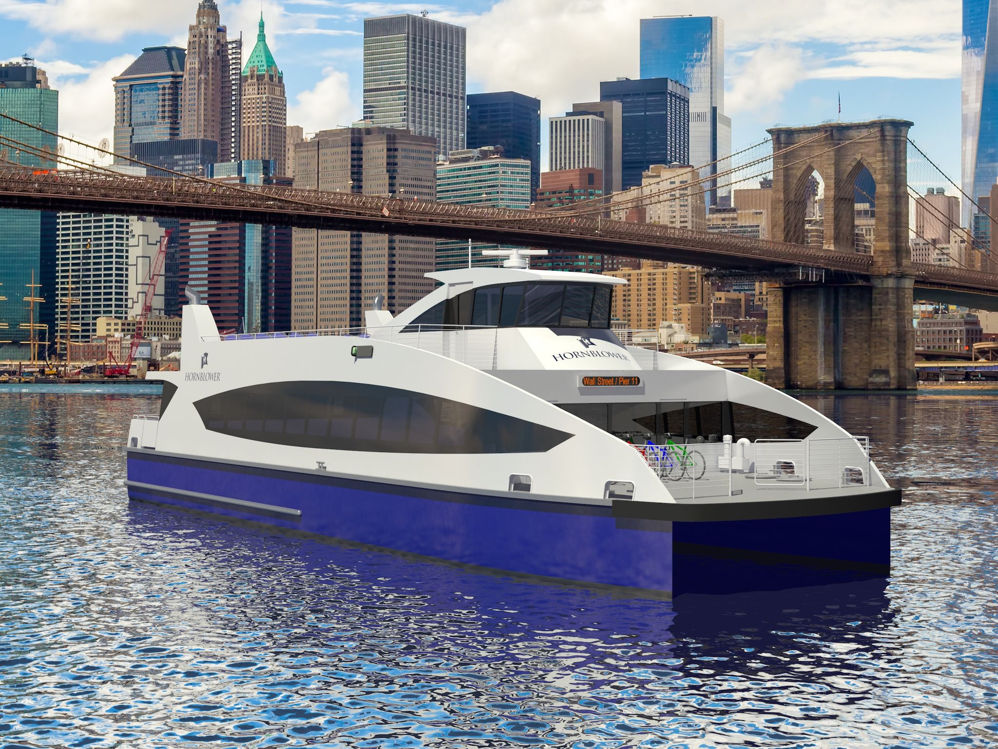 Rendering of the new Citywide Ferry service boats (credit: NYC Mayor's Office)