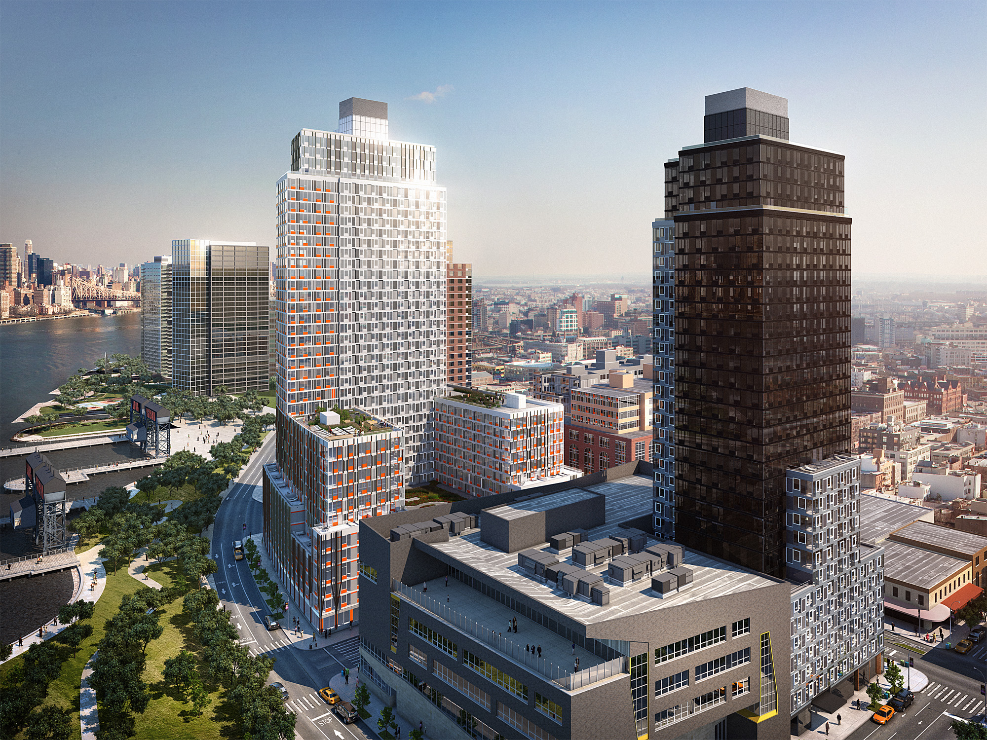 Rendering of Related Companies' residential towers at Hunter's Point South (credit: SHoP Architects)