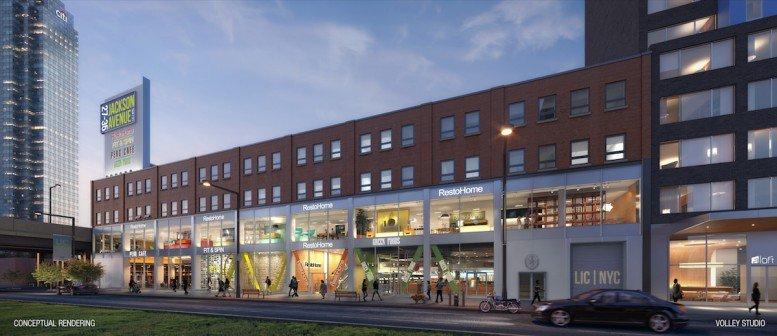 Rendering of retail space at 27-35 Jackson Avenue in Long Island City (credit: RKF)
