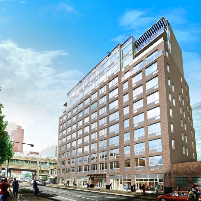 Rendering of street-level retail at the Luna LIC residental building at 42-15 Crescent Street in Long Island City (credit: Winick Realty Group)