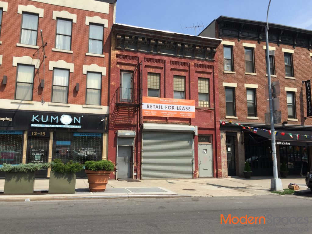 Street-level retail space at 12-17 Jackson Avenue in Long Island City (credit: Modern Spaces)