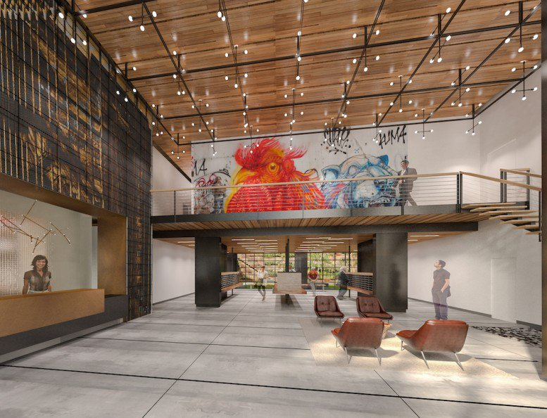 Rendering of the lobby at 44-28 Purves Street in Long Island City (credit: FXFOWLE)