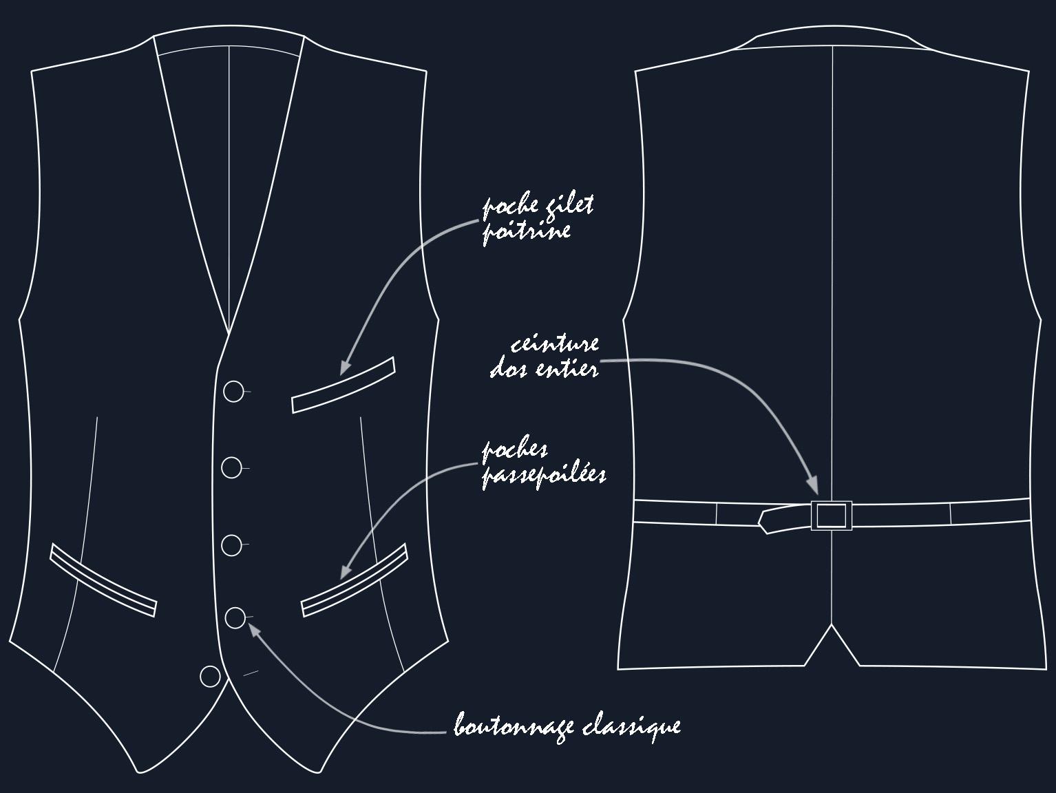 Dessin technique  du gilet classique dans sa coupe et ses détails. Le devant et le dos sont dans deux tissus distincts (le dos est toujours en doublure). A noter : La poche gilet poitrine sera placer à gauche pour un droitier et à droite pour un gaucher.