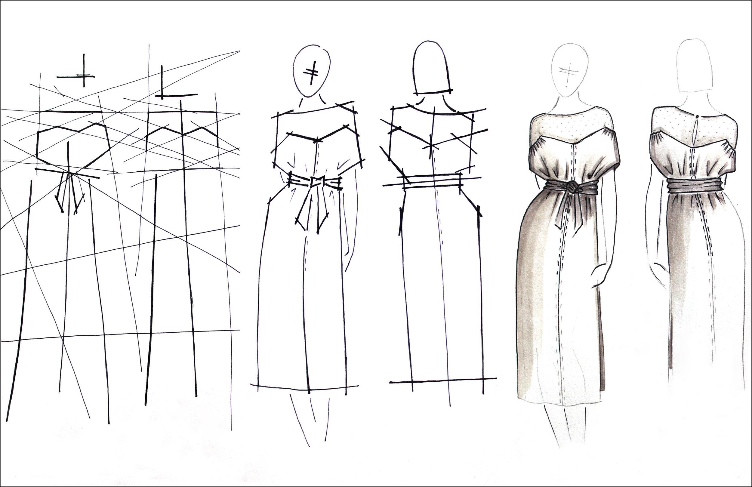 Les lignes habillant les courbes du corps féminin.