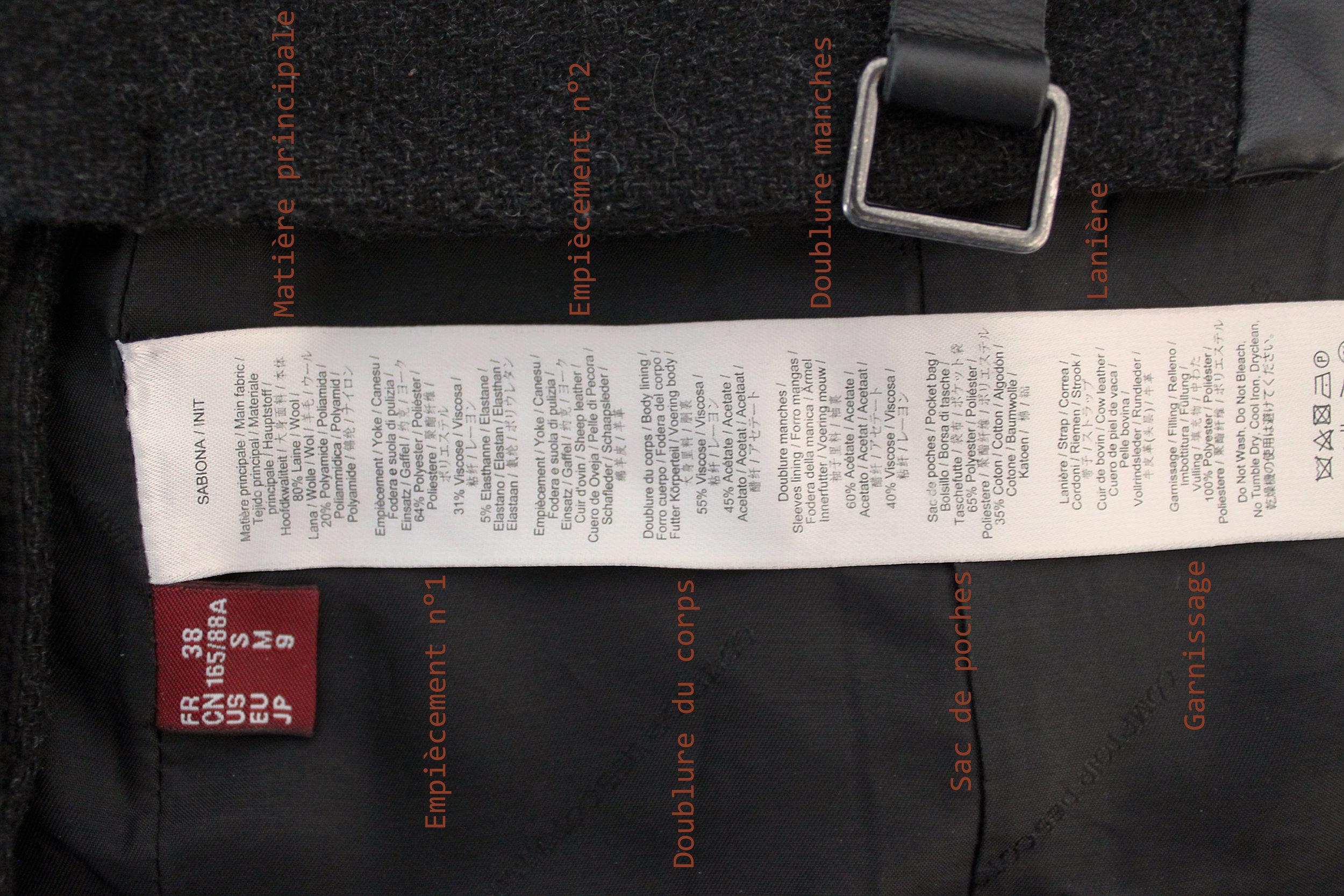 Étiquette de composition d'un manteau, vous pouvez voir que tout y est détaillé. Le reste des informations est au verso .