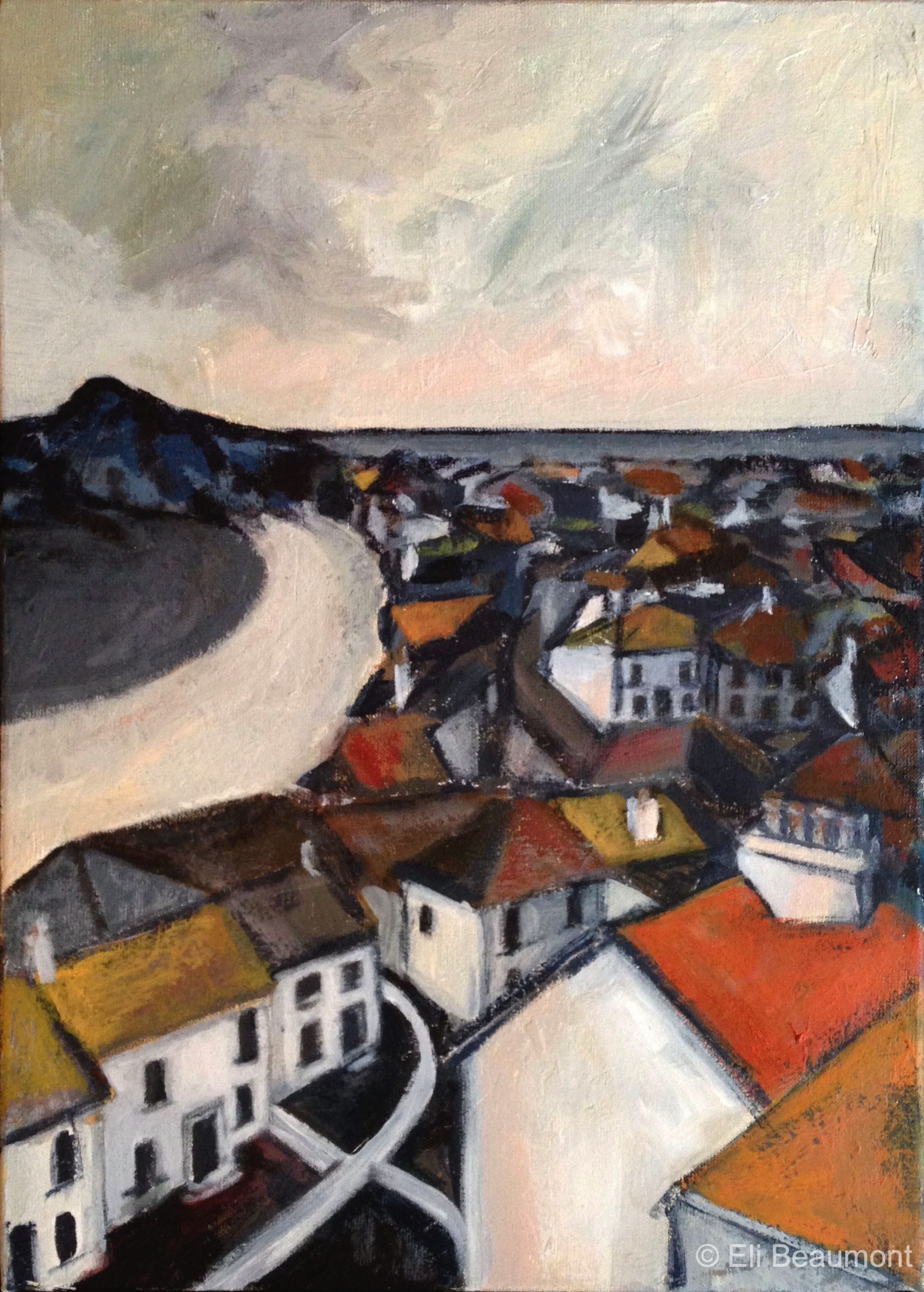 St Ives Roofs - acrylic on canvas
