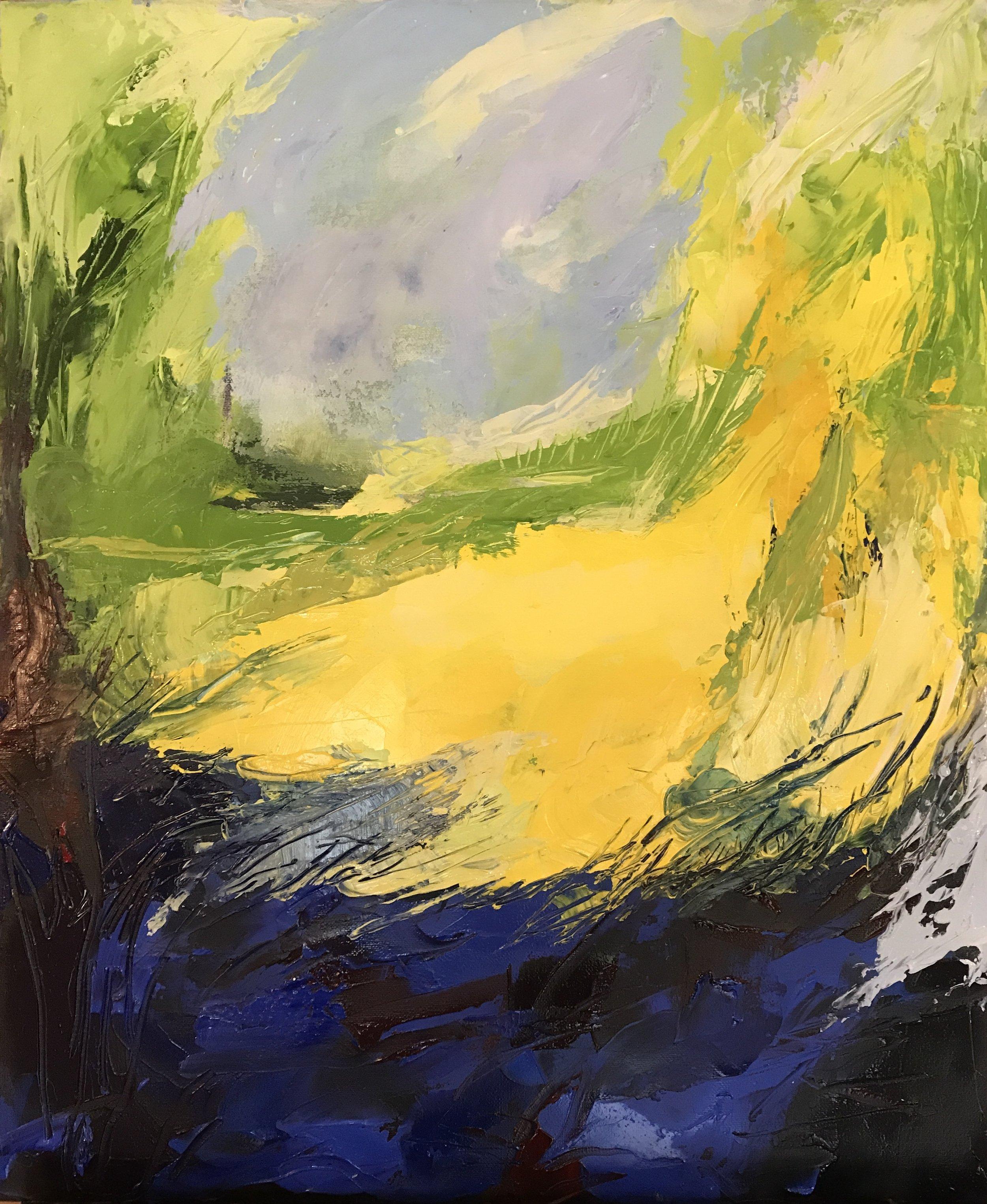 Spring-Otford Hills - acrylic on canvas  50x60cm £350