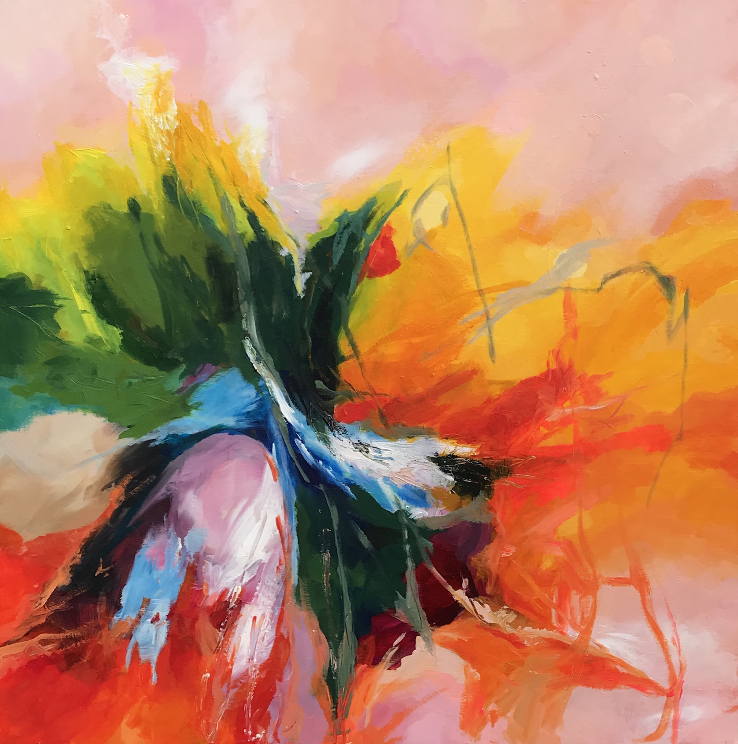Hollyhock 2018 - acrylic on canvas 76x76 cm £500