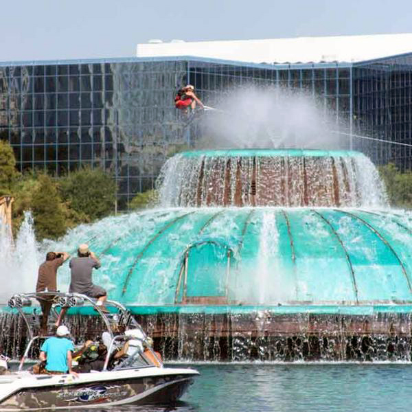 Pro Wakeboarder JD Webb jumping over Orlando's Lake Eola fountain; set up provided by Step Up Productions