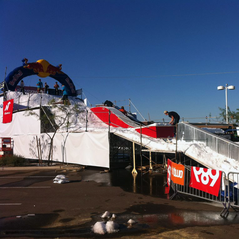 Step Up Productions custom snow rail jam event made possible in any weather
