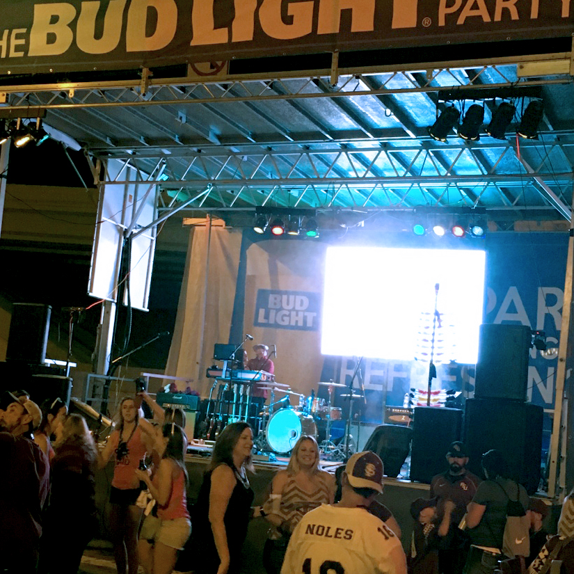 Step Up Productions fully customizable stage setup including the LED wall, lighting, audio, and more.