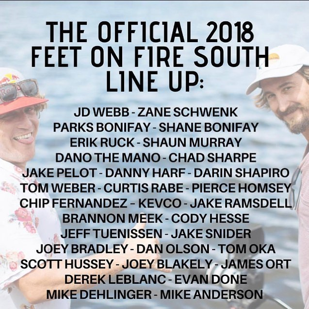 The line up today for @feetonfire.barefoot 👆check it! Starts at 2pm @thewaterfrontorlando