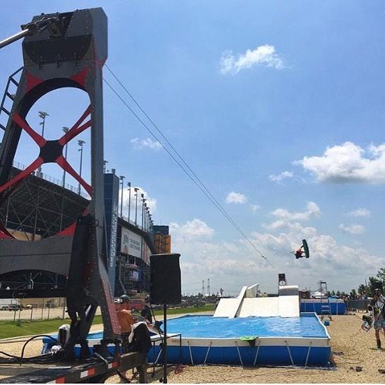 @chicagolndspdwy with @konex_wakeparks and @nbcsports #railjam #stepupproductions #wakeboarding #nascar #wakeboardrailjam  #portablepools