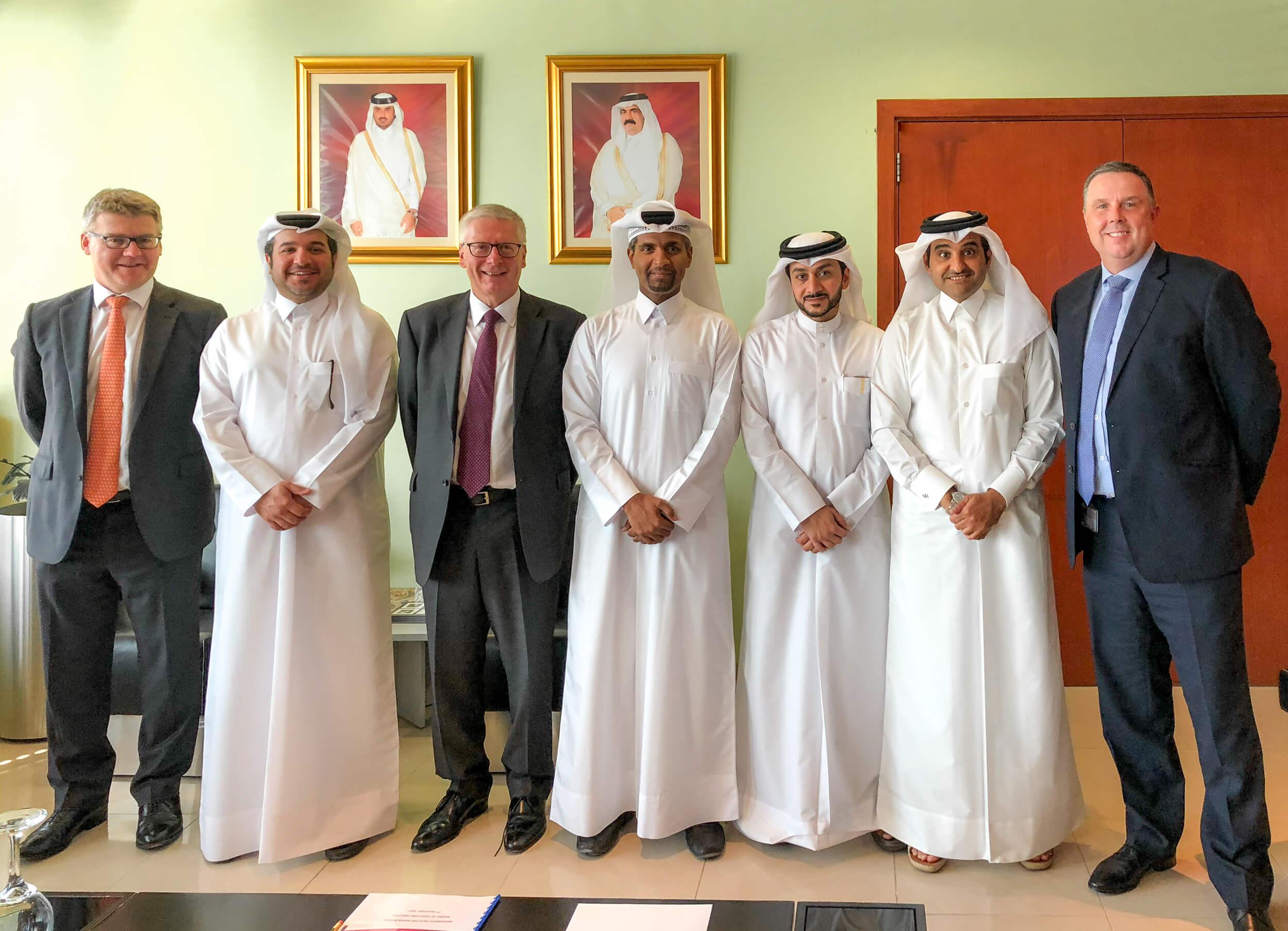 Left to Right: Ian Thomas, Ahmad Al Mulla, Steve Watts, Abdulaziz Al Mahmoud, Ibrahim Al Darwish, Khalid Al Mohannadi, Mark Cooke
