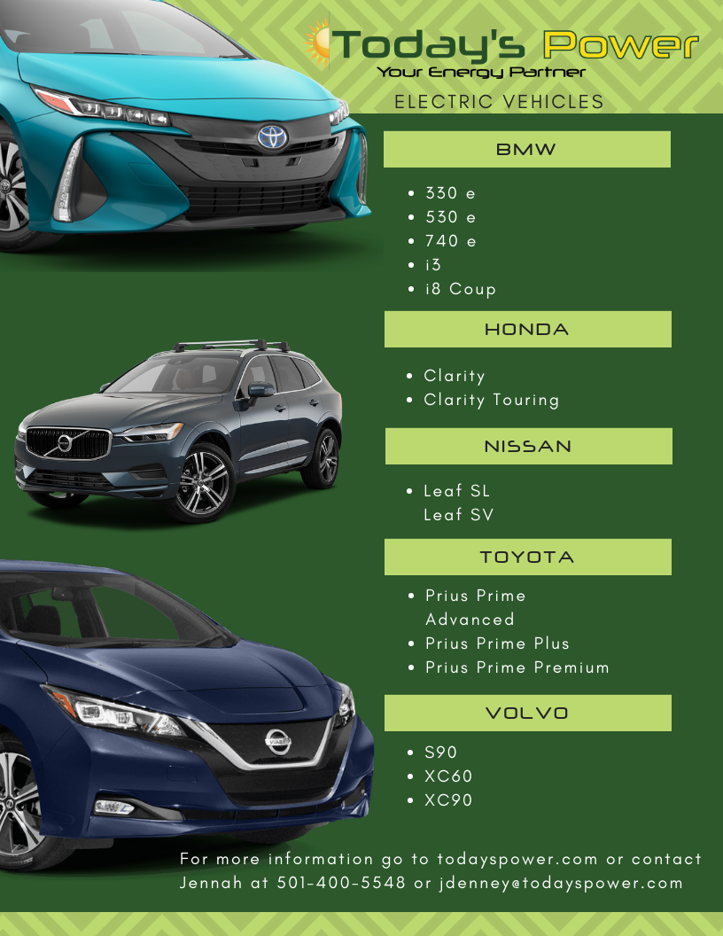 Today's Power has the following vehicles available. Contact Jennah for more information 501-400-5548 or jdenney@todayspower.com