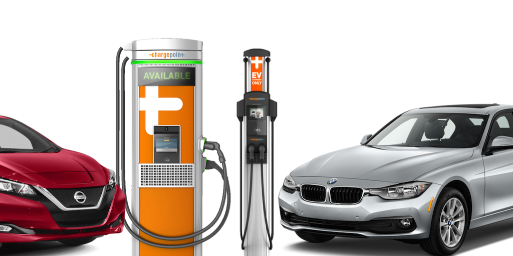 Nissan Leaf, ChargePoint DC Fast Charger, Level 2 Charger, and BMW Hybrid