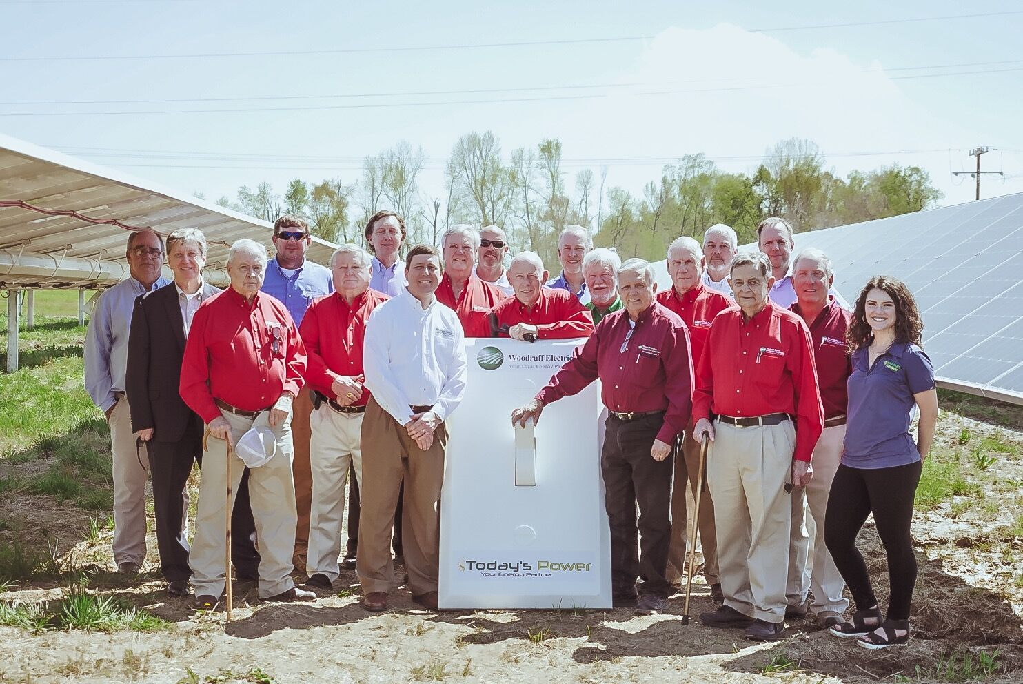 Woodruff Electric Cooperative Staff and executives from TPI join WEC's board to  flip the switch  on a 1-MW Solar Array developed by TPI.