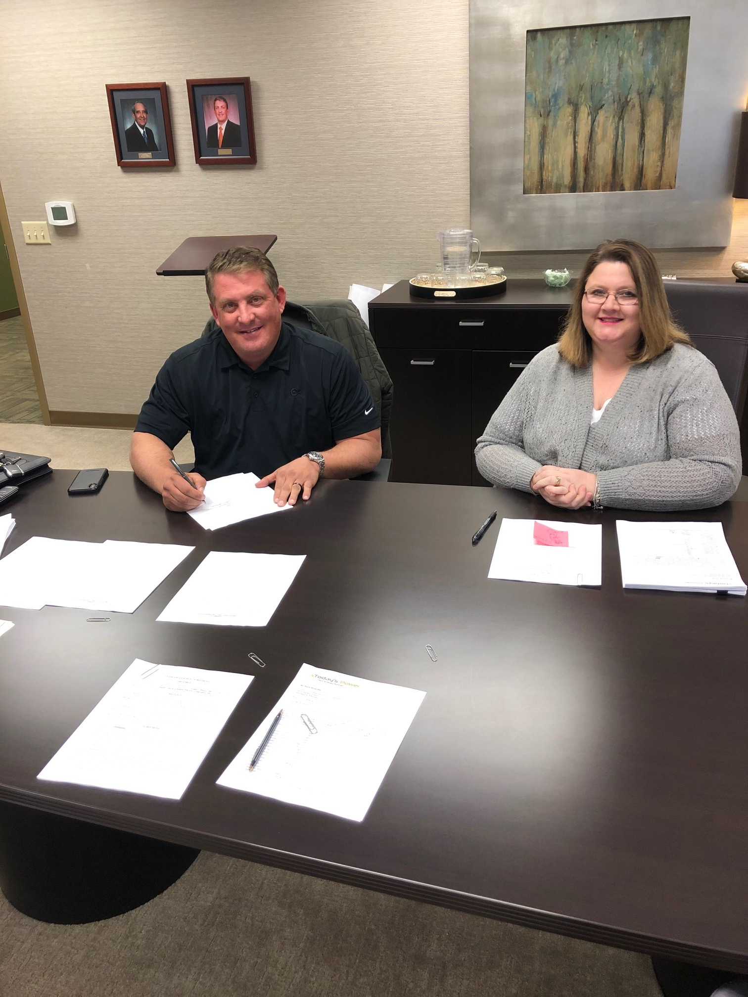 Kevin Brownlee, CEO of SCAEC, and Haley Tibbs, CFO, signed an agreement to construct a 1-MW Solar Array with Today's Power, Inc.