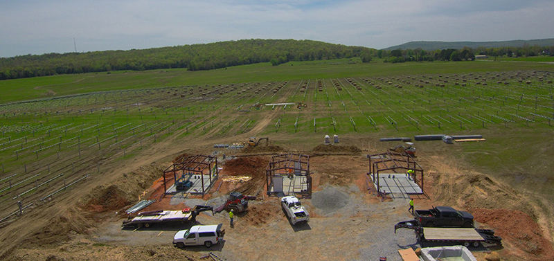 Solar racking and housing for storage in Fayetteville, Today's Power's only solar plus storage facility in Arkansas.