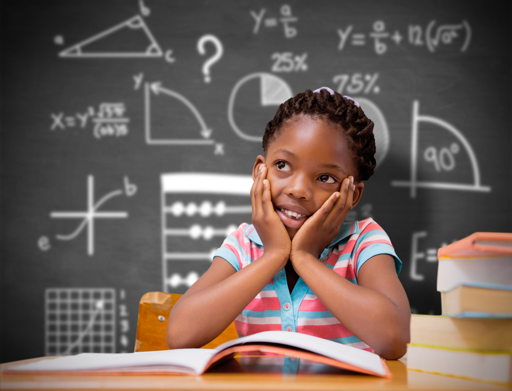 A black (African American) girl in a classroom