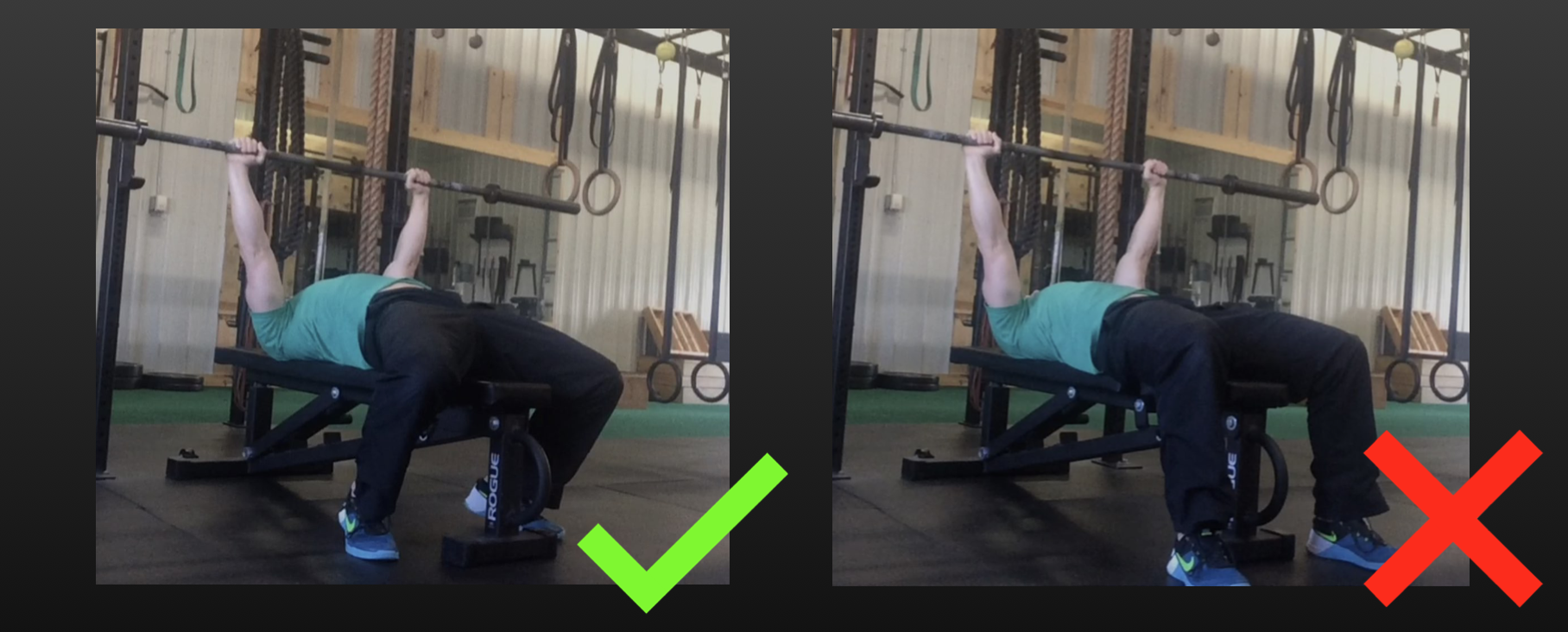 A good indication that you aren't creating sufficient leg drive is that your feet are placed directly below or in front of your knees. They should be planted on the ground back toward your shoulders. Your knees should be bent at an angle less than 90 degrees.