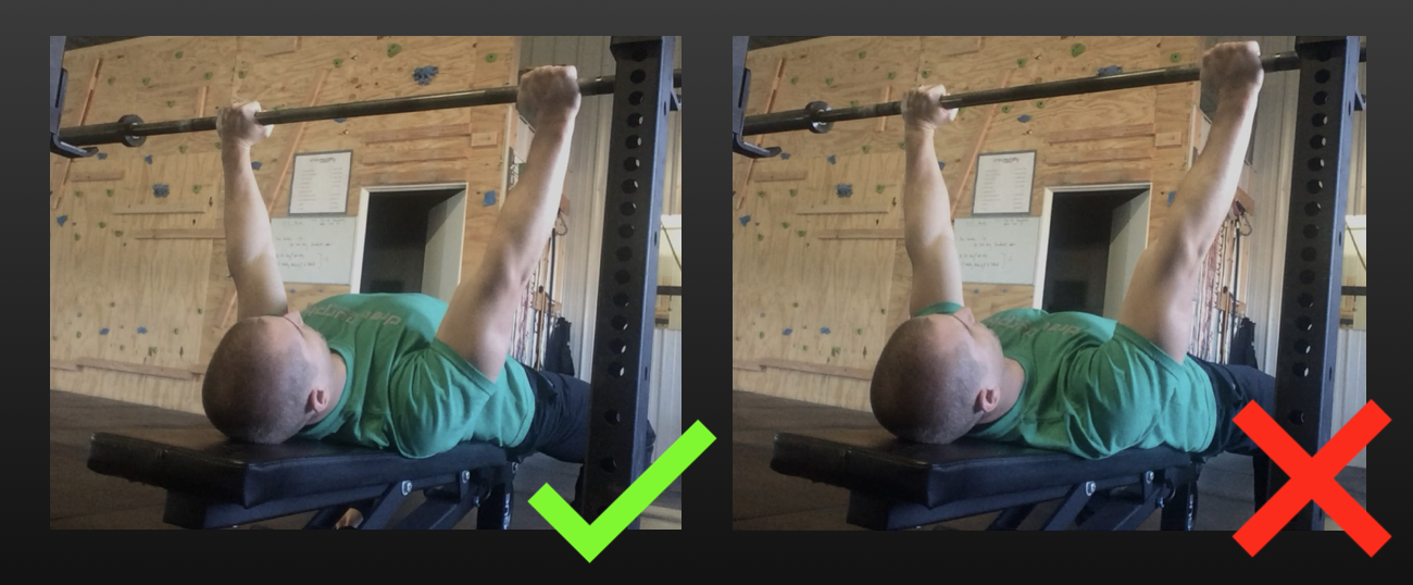 Left: Chest is puffed out, shoulders are set back, and the angle of my knees suggests I am creating leg drive. Right: Chest flat, shoulders not set, no leg drive.