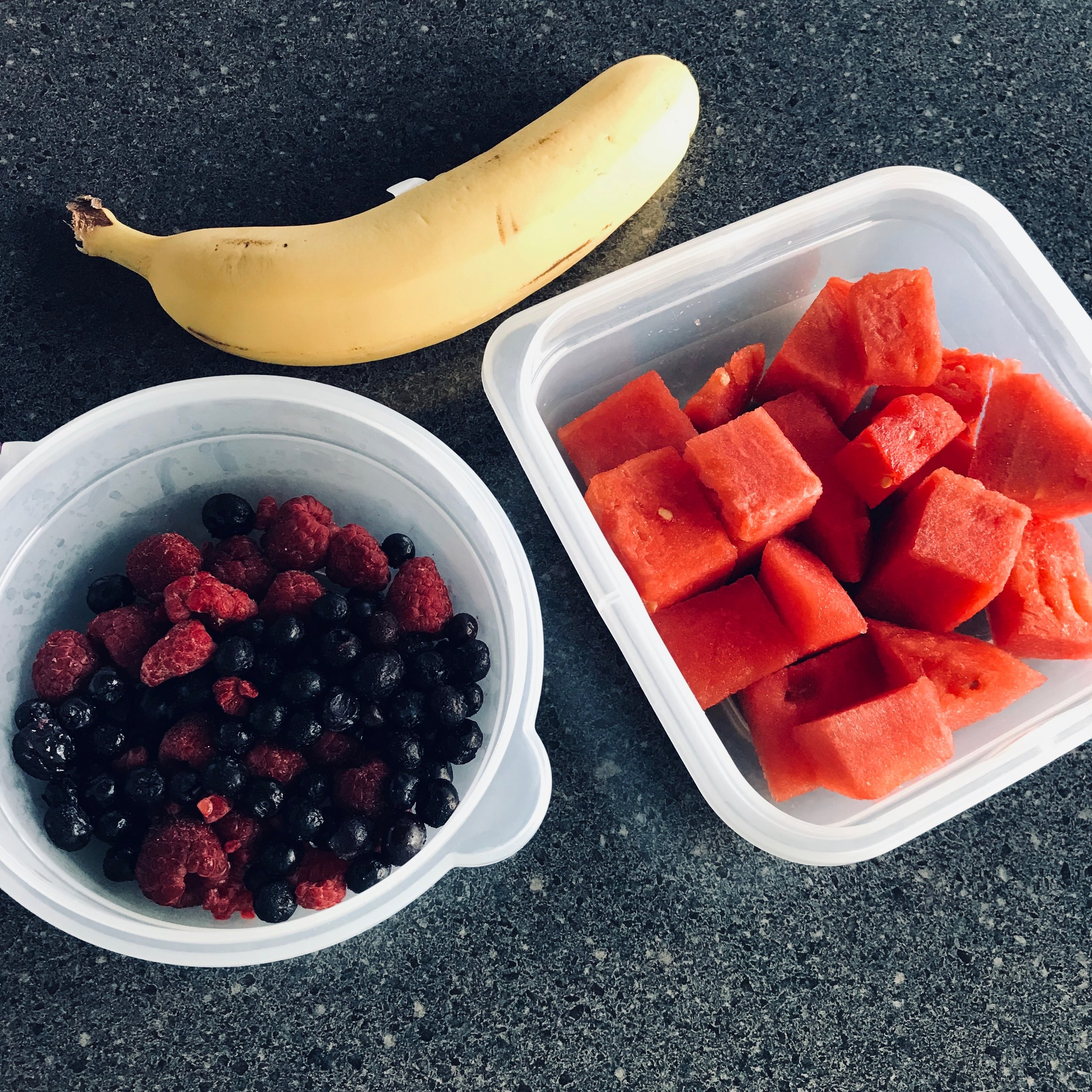Frozen blueberries and raspberries, watermelon.