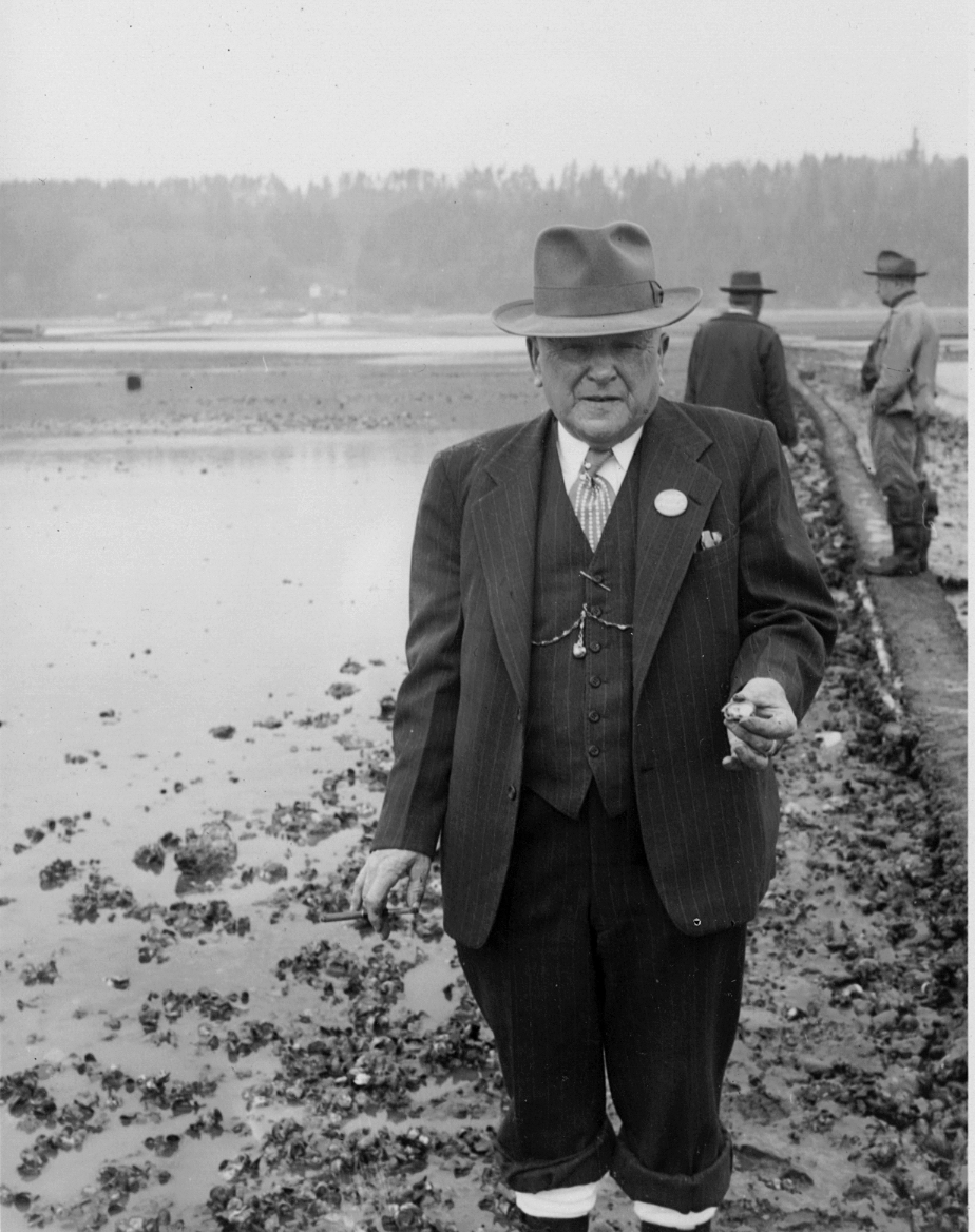 My Great Grandfather, Louis Charles Wachsmuth, inspecting his oyster beds with cigar in hand, Olympia, Washington. Circa 1930's. He grew the main ingredient for his restaurant, oysters, and practiced cooking from the source, long before I was born. CS