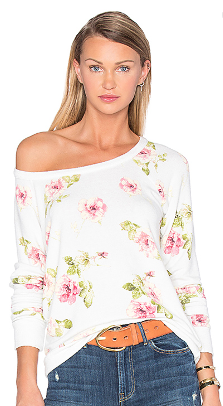 Casual & sweet, with a little shoulder peek all in this  Chaser  English Rose Sweater