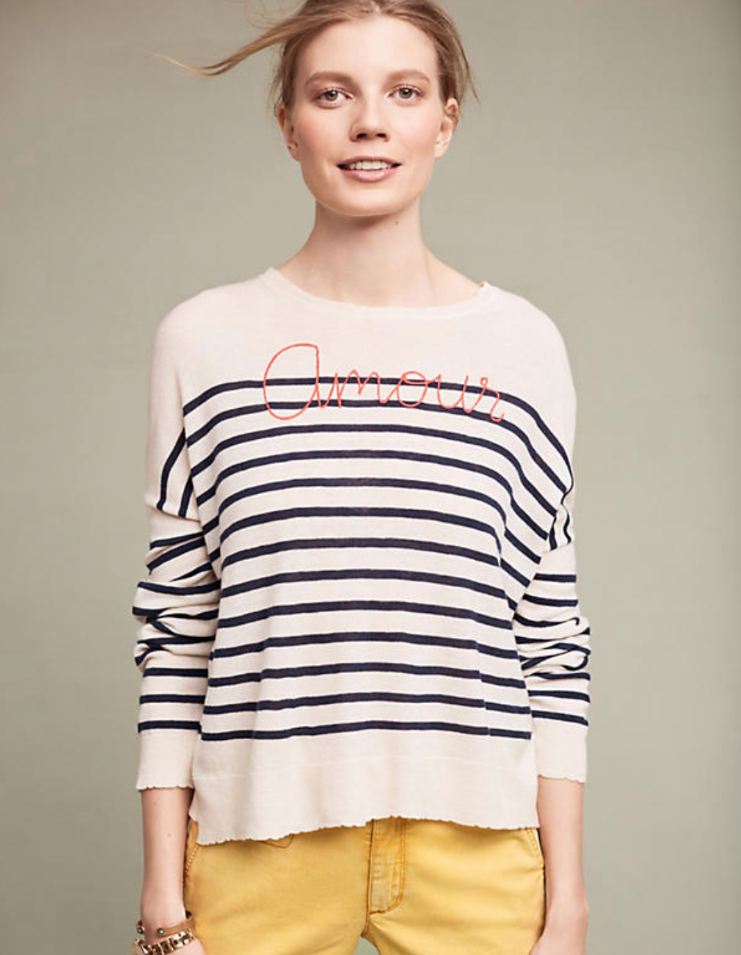 Love vibes only with this Amour  Anthropologie  Pullover