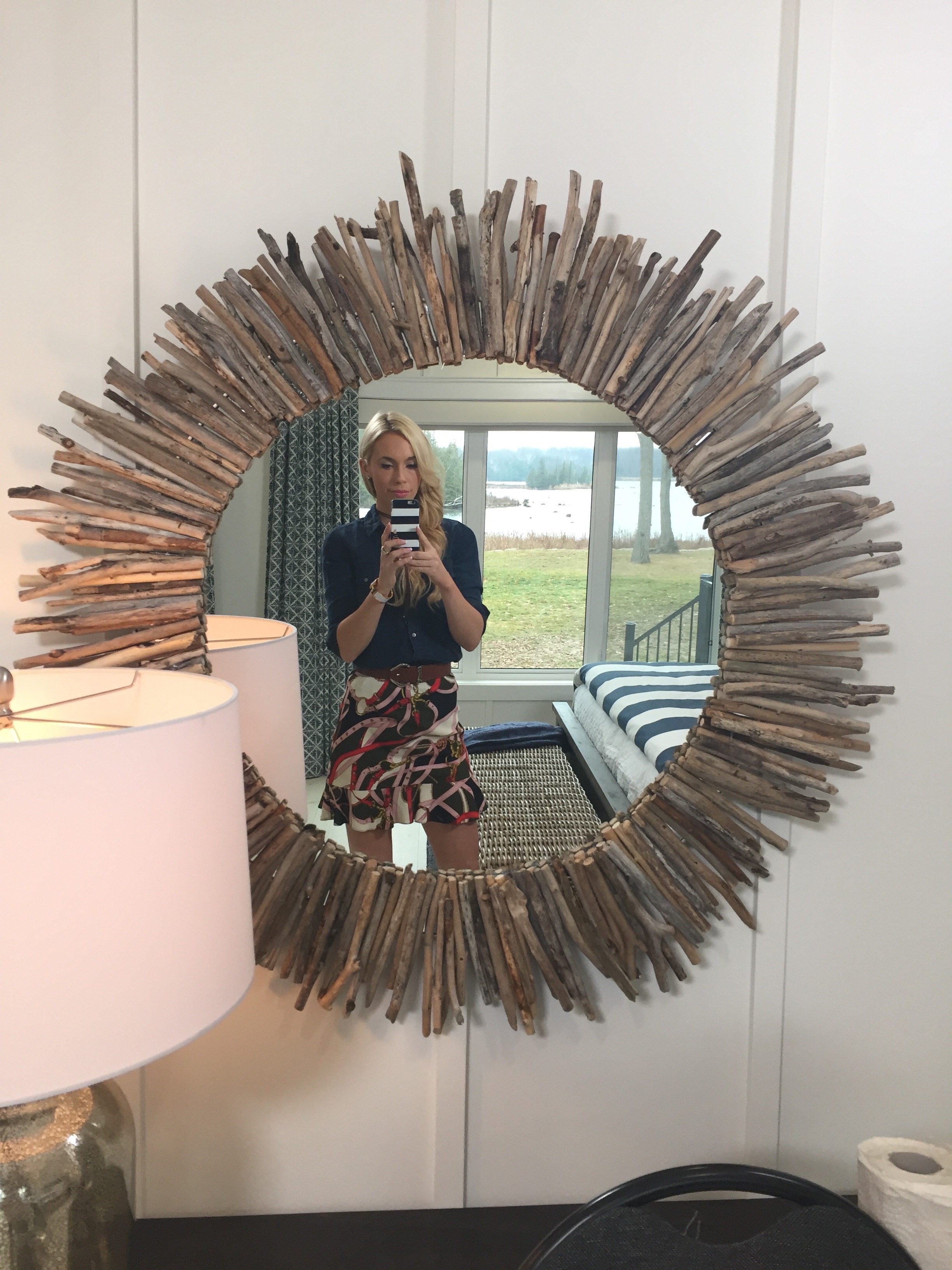 HGTV's Home To Win DIY Driftwood Mirror   Behind The Design : Check out Mia Parres' clever way to bring more texture into your lake-inspired room with an easy DIY project for  HGTV  and  Home To Win !