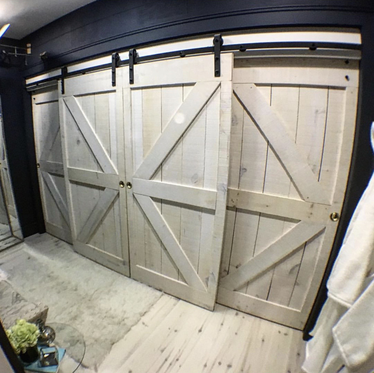 Colin Hunter's labour of love, these barn door inspired sliding doors, add such a chic and authentic element to the master closet suite! Perfectly on trend as well.