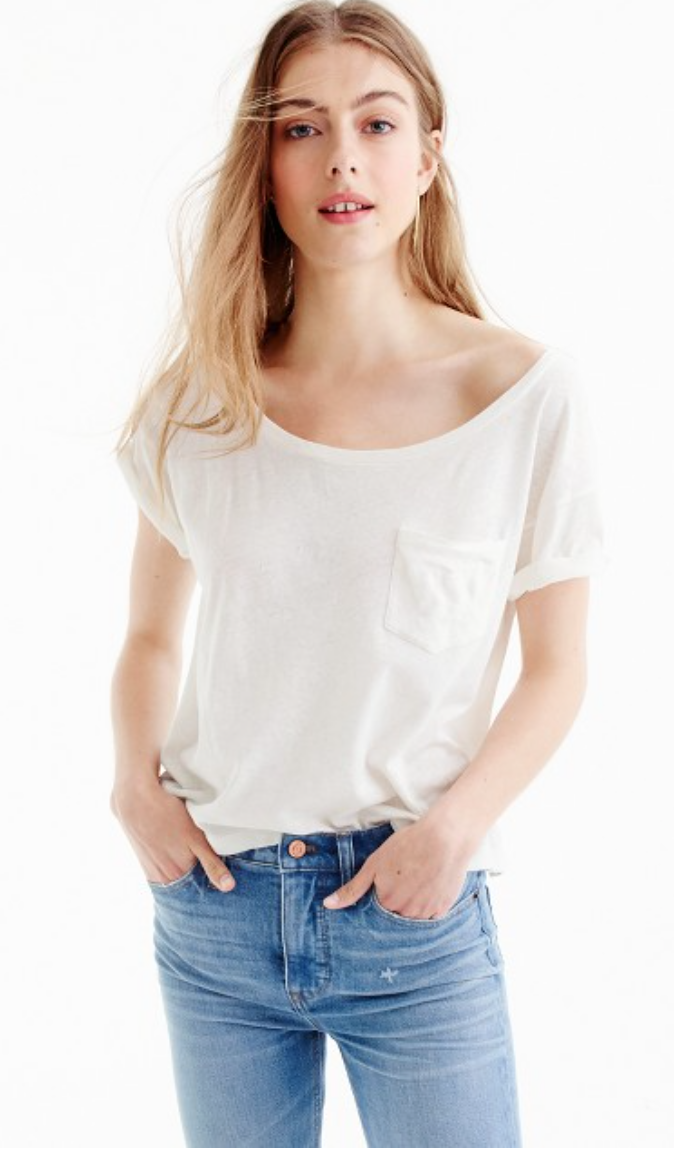 J Crew - Relaxed boatneck T-shirt in slub cotton