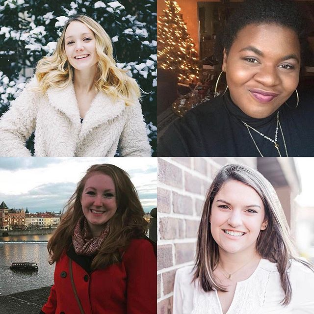 We're celebrating #valentines day by introducing our four new members! We're so excited to welcome Beatrice Becette, Campbell Keyser, Charnice Frazier, and Dani Dredger to the group. Give them a shout out! #galentines #acappella