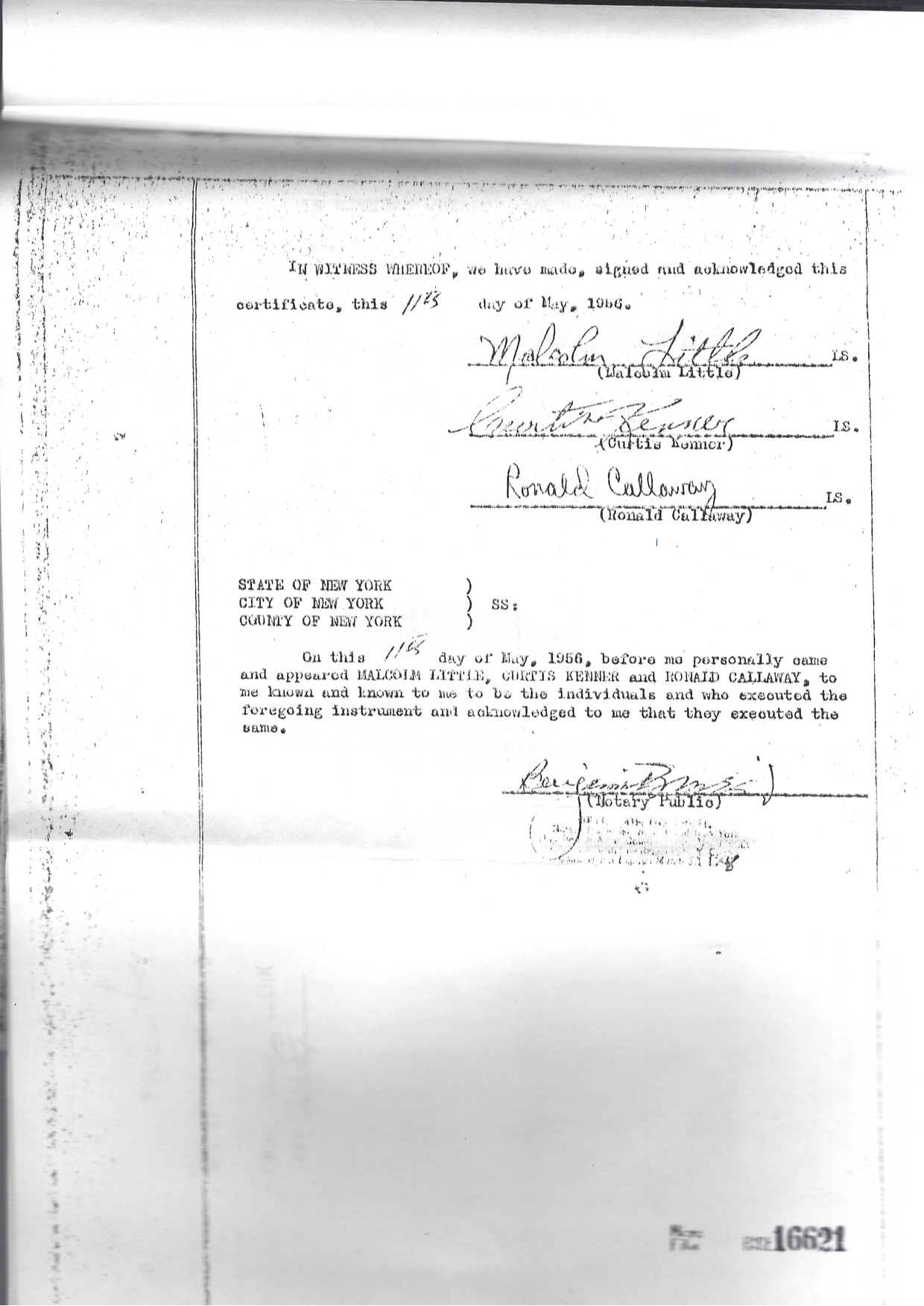 Temple No. 7 Incorporation Papers signed by Malcolm X (Little) Curtis Kenmer and Umar Alamin (Ronald Calloway) Courtesy of Fatimah Dawan