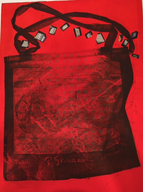 Red Beach Bag, Etching, Monoprint, Collage, 24 x 17.5