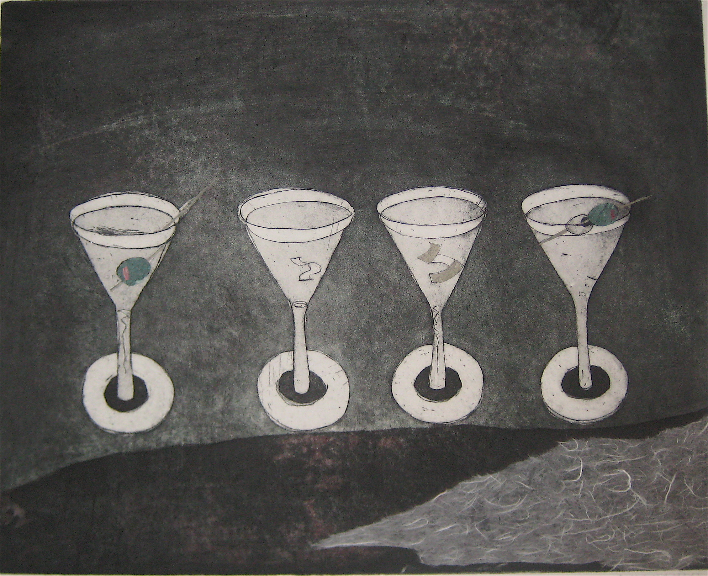 Martinis 1, Etching, Collage, 16 x 19.5