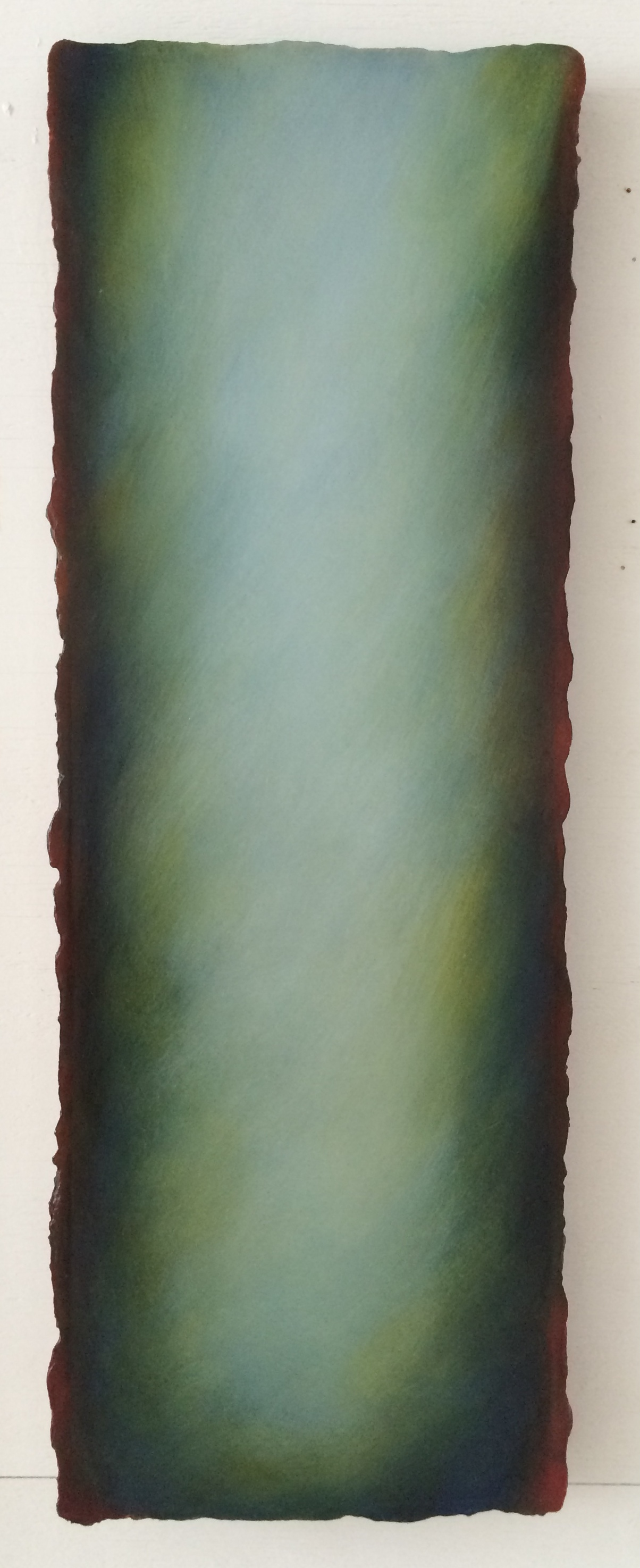 #VR-B12 Blue/Green,  Oil on Canvas on Gesso-plaster Ground, 13 x 38