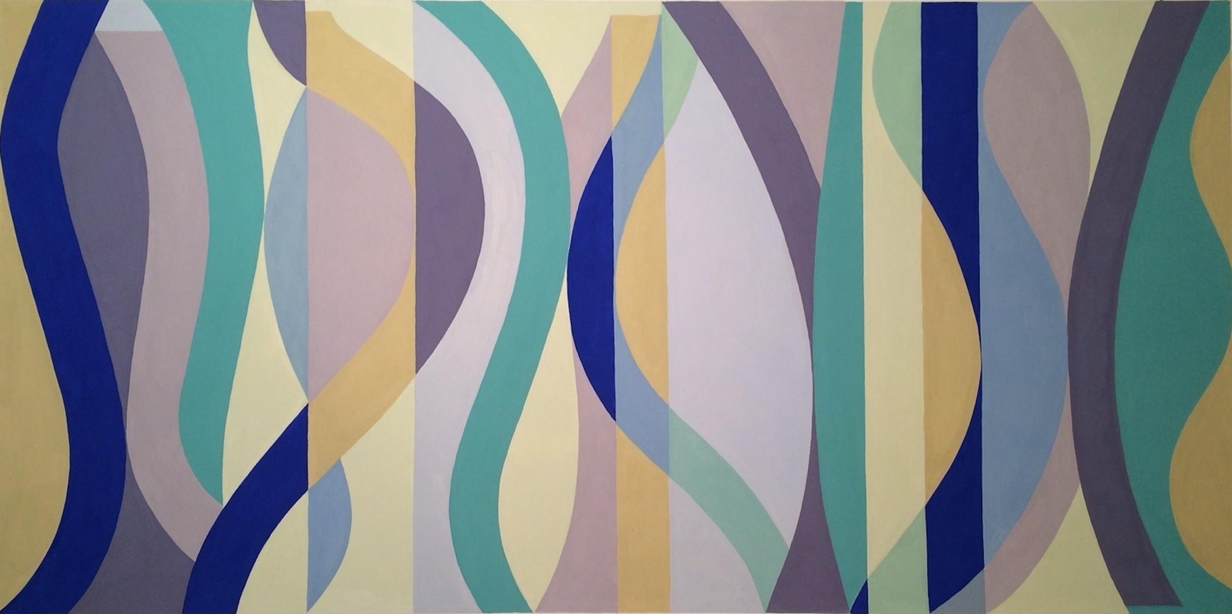 Horizontal Sine Horizon #1, Gouche on Paper, 20 x 30