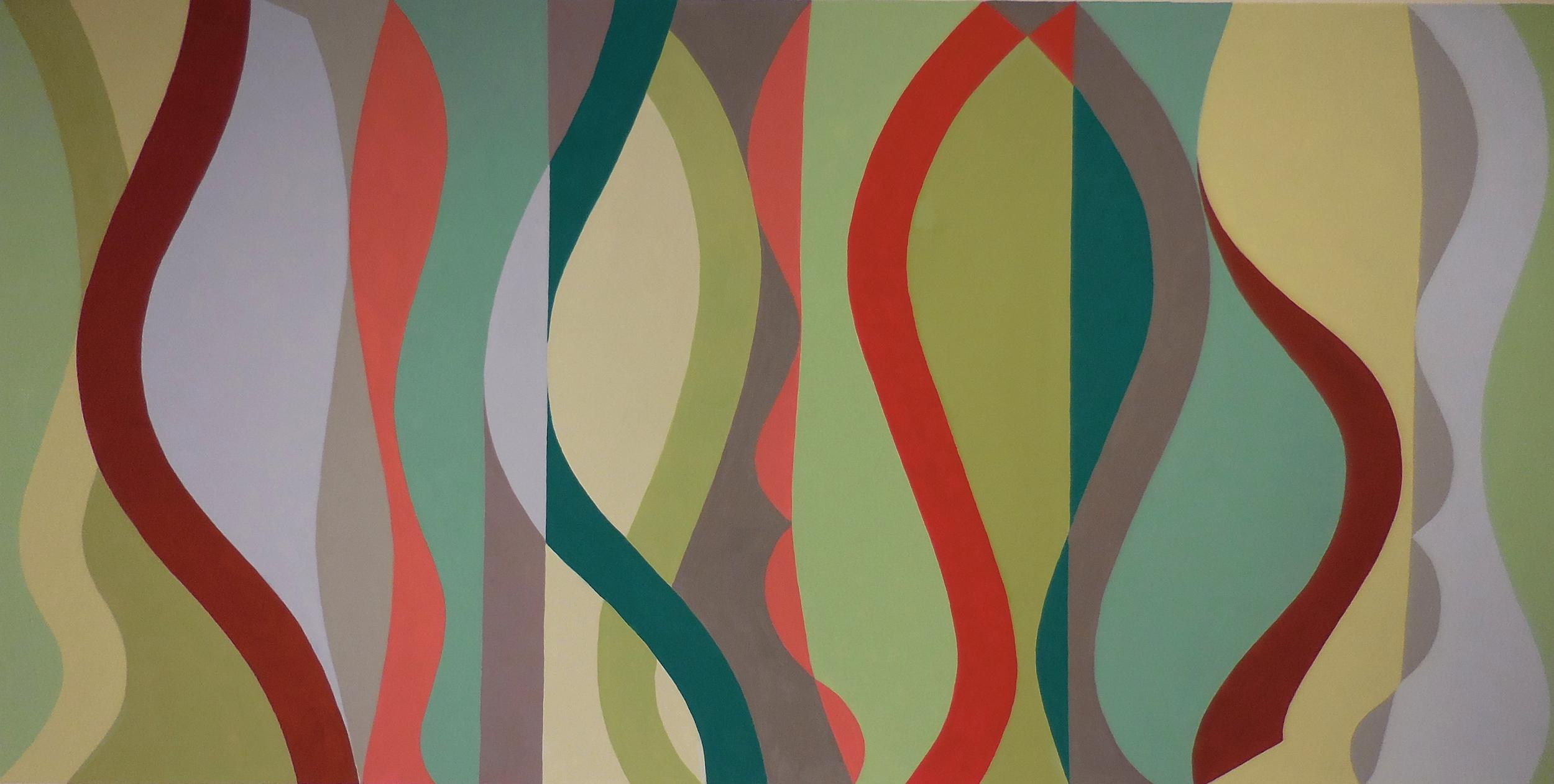 Horizontal Sine Horizon #3, Gouche on Paper, 20 x 30