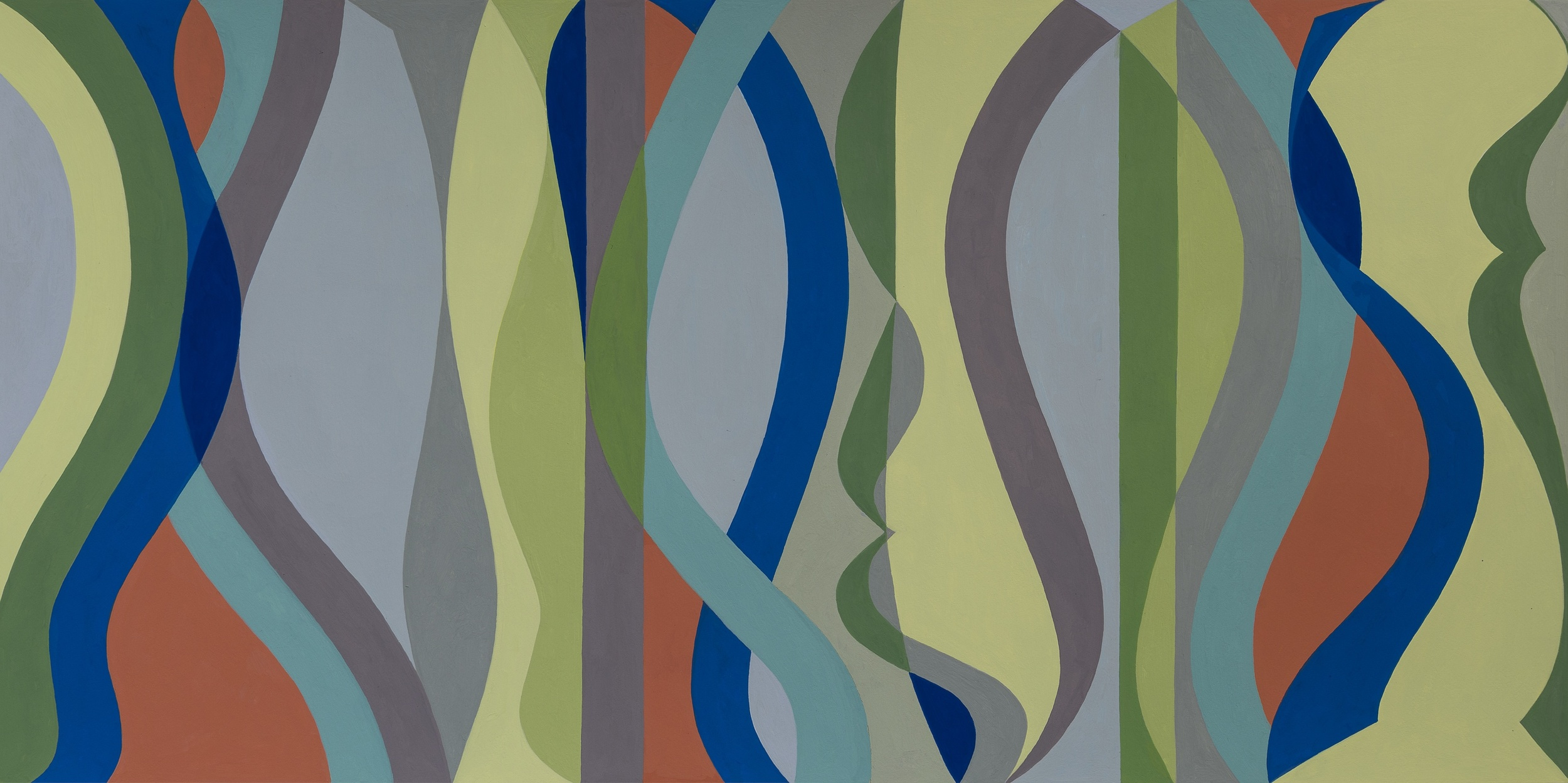 Horizontal Sine Horizon #2, Gouche on Paper, 20 x 30