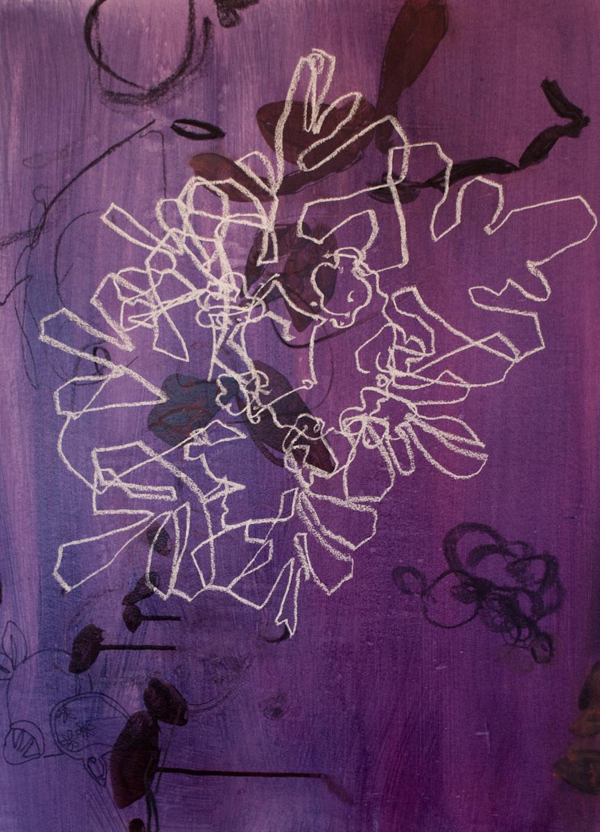 Snowfall 48, Acrylic, Charcoal, Pastel, 30 x 23
