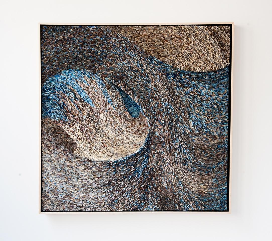 Murmuration 6, Painted Hand Torn Paper on Board, 49 x 49