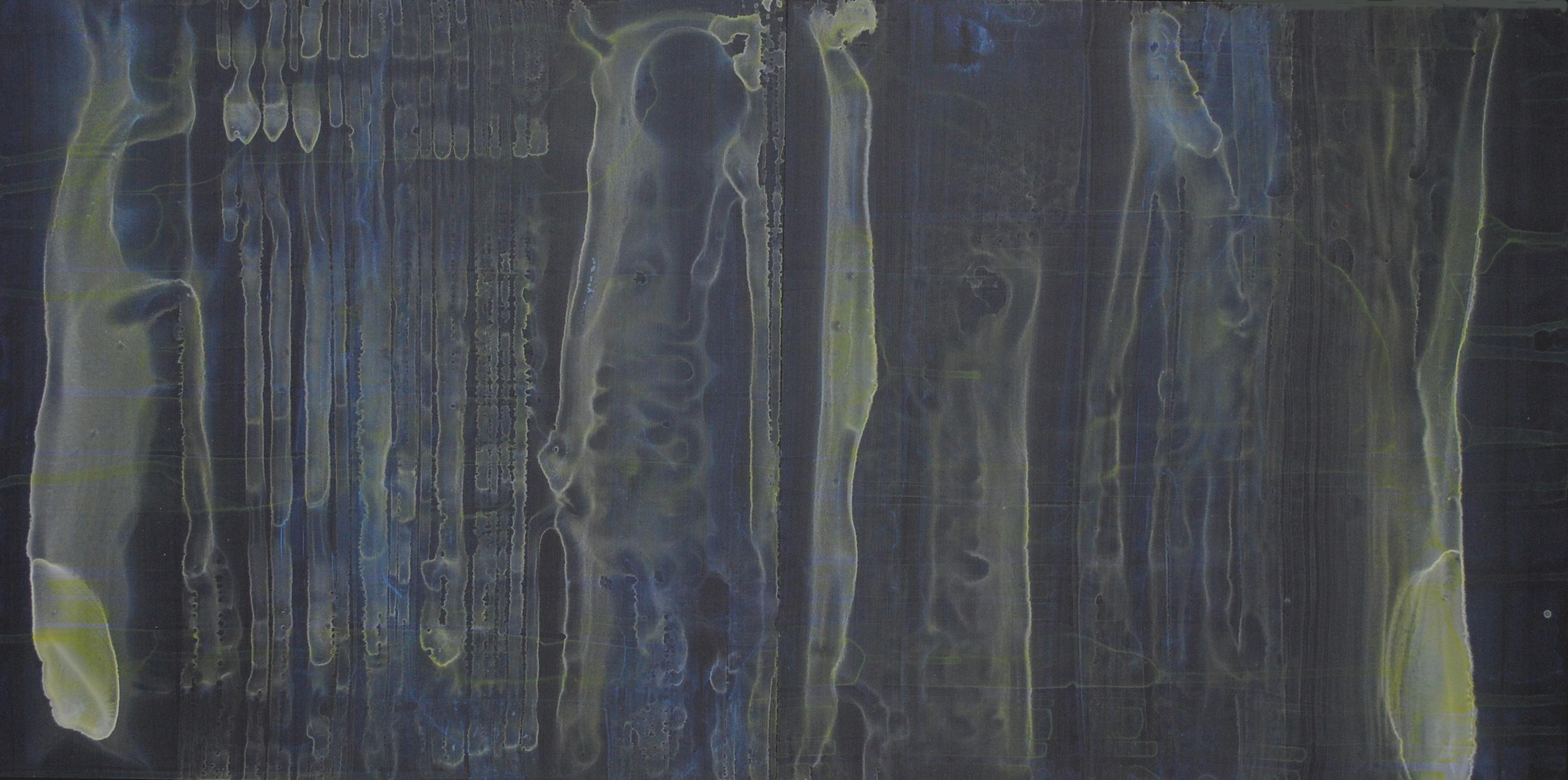 Night Tide 933, Mixed Media on Plexiglas, 17 x 33