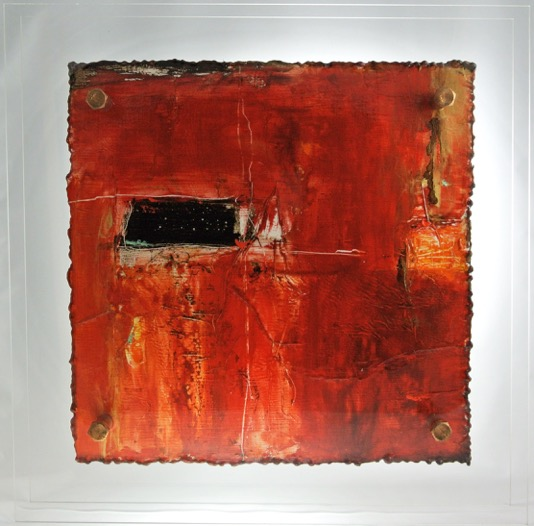 Cut 15- 801, Mixed Media on Metal with Plexiglas, 15 x 15