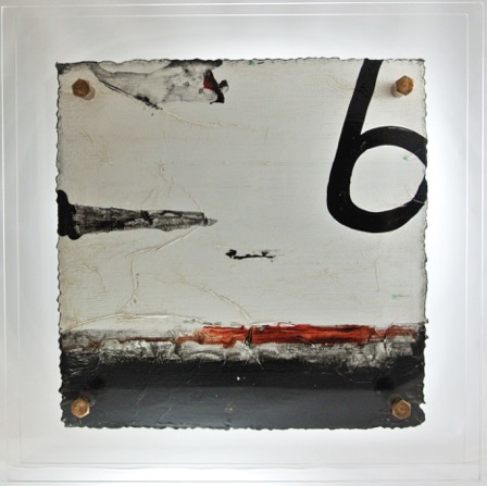 Cut 15 - 886, Mixed Media on Metal with Plexiglas, 15 x 15