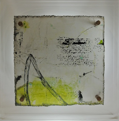 Cut 16 - 306, Mixed Media on Metal with Plexiglas, 15 x 15