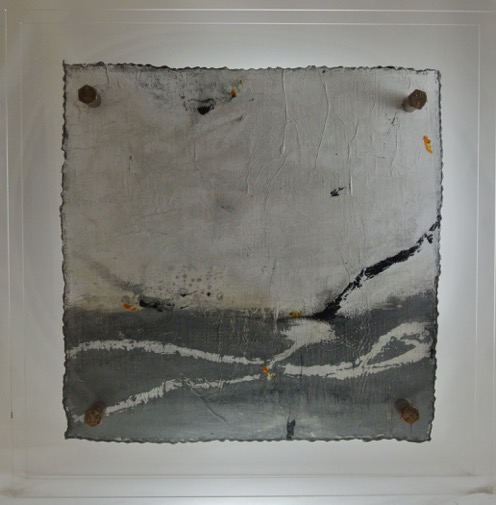 Cut 16 - 332, Mixed Media on Metal with Plexiglas, 15 x 15