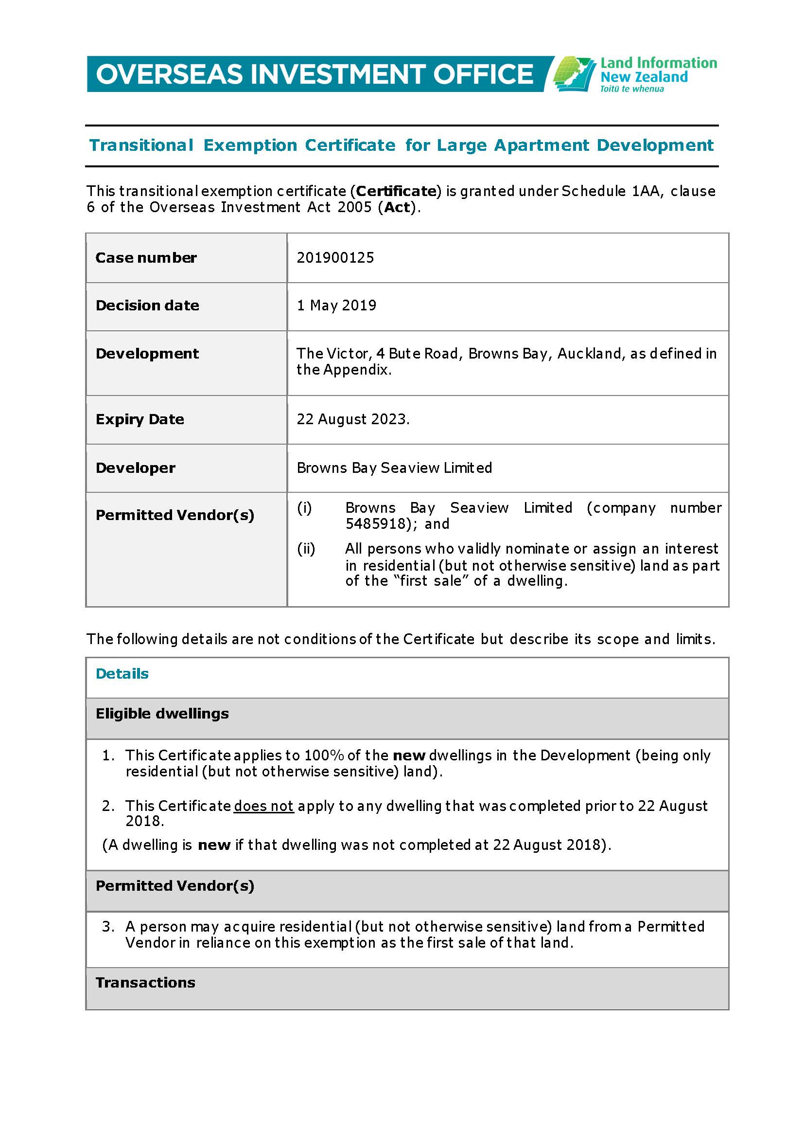 20190501 - Transitonal Exemption Certificate (OIO) - Browns Bay Seaview Limited - 04-08_Page_1.jpg