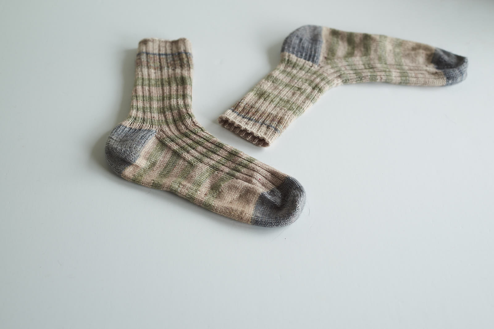 my most recently pair of Favourite Socks using minis skeins in Cygnet, Frost, Cement and Explosion